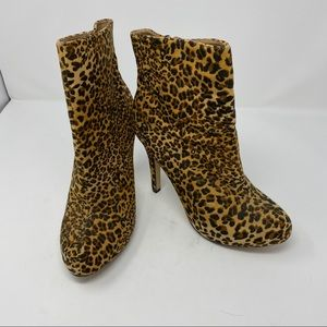 Body Central Leopard Print Heeled Boots